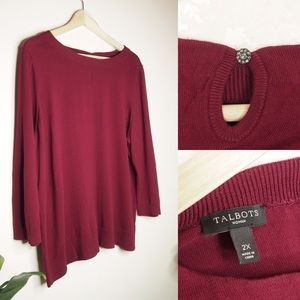Talbots Burgundy Sweater with Button Detail Sz 2X